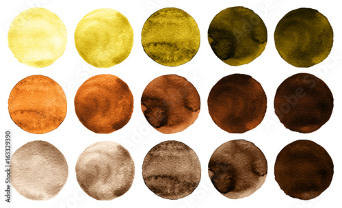 Obraz Watercolor circles in shades of yellow and brown colors isolated on white background. - fototapety do salonu