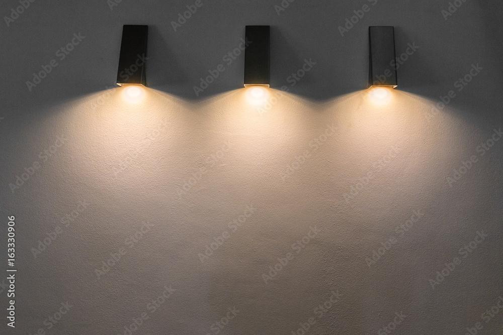 Fototapety, obrazy: modern metal lamp on the wall