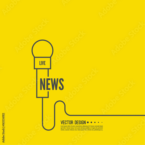 Microphone with a wire  Symbol breaking news on TV and radio