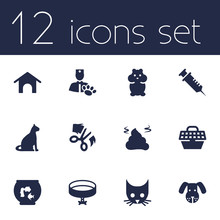 Set Of 12 Pets Icons Set.Colle...