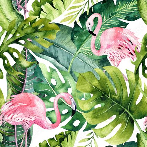 tropikalny-na-bialym-tle-wzor-z-czerwonak-akwarela-tropic-rysunek-roza-ptak-i-palma-zieleni-zwrotnik-zielony-tekstura-egzotyczny-kwiat-zestaw-aloha