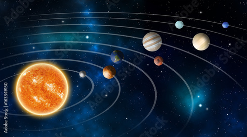 Carta da parati Solar system model, Elements of this image furnished by NASA.