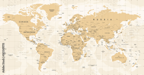 World Map Vintage Vector. Detailed illustration of worldmap