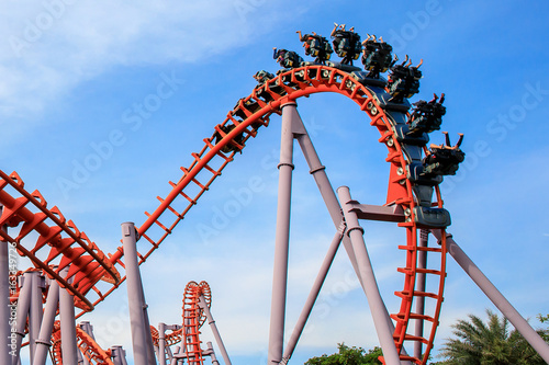 Staande foto Amusementspark Roller Coaster at amusement park of Bangkok, Thailand.