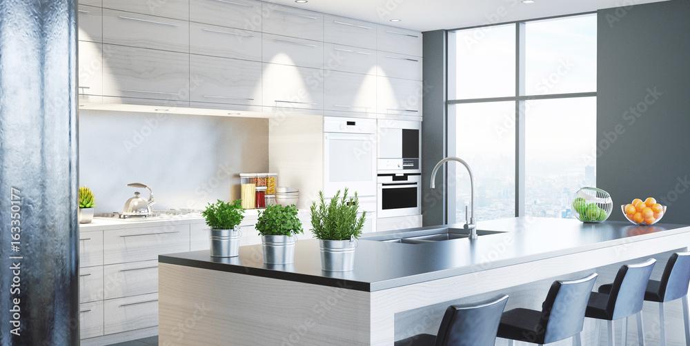 Fotografie, Obraz  Cucina nuova moderna, arredamento casa, 3d render