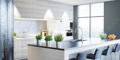 Cucina nuova moderna, arredamento casa, 3d render Canvas Print