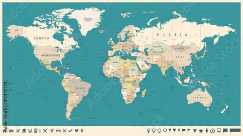Fotobehang Wereldkaart World Map Vector Vintage. Detailed illustration of worldmap