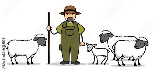 Fototapeta Cartoon Schäfer mit Schafen und Lamm