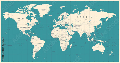 Tuinposter Wereldkaart World Map Vintage Vector. Detailed illustration of worldmap