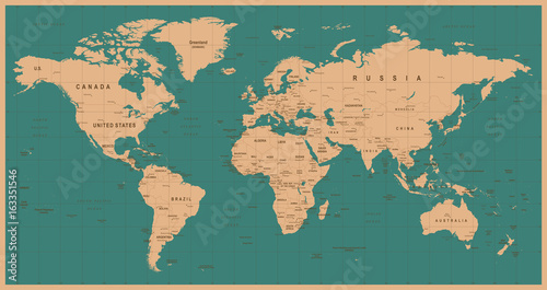 Recess Fitting World Map World Map Vector Vintage. Detailed illustration of worldmap