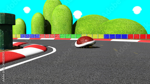 Red turtle in kart racing Wallpaper Mural
