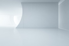 Abstract Interior Design Of Modern White Showroom With Empty Floor And Concrete Wall Background -Backdrop 3d Rendering