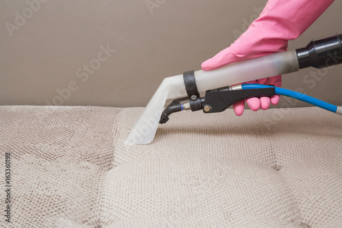 Fotografie, Obraz  Sofa chemical cleaning with professionally extraction method