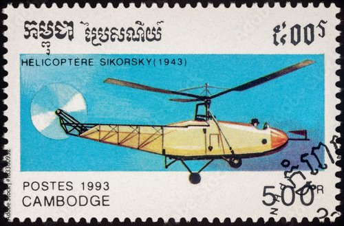 Poster  Helicopter of Igor Sikorsky (1943) on postage stamp