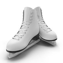 Pair Of The White Ice Skates For Girls, Isolated On A White. 3D Illustration, Clipping Path