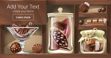 Vector Illustration Of A Wooden Rack With Glass Jars, A Bowl Filled With Chocolate Candy, Pieces Of Chocolate Bar, Fruit Of Cocoa Tree. Template, Design Element For Advertising Of Chocolate Shop