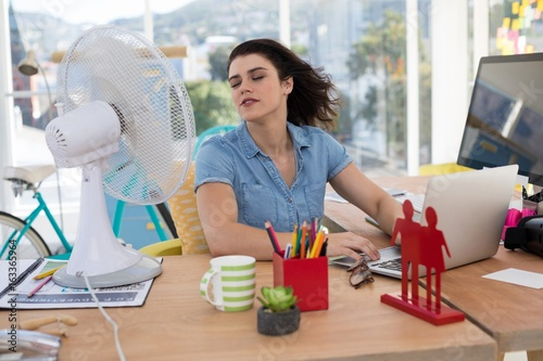 Vászonkép  Female executive enjoying breeze from table fan