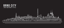 Cityscape Building Line Art Vector Illustration Design - Brno City