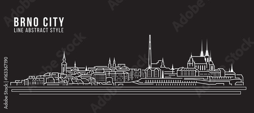 Fotografía  Cityscape Building Line art Vector Illustration design - Brno city