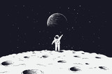 Astronaut stand on surface of Moon - 163367950