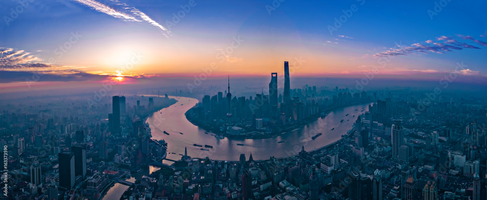 Fototapety, obrazy: Panorama of sunset with Shanghai city view