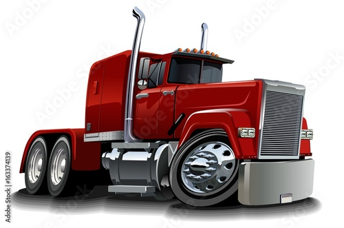 Papiers peints Cartoon voitures Cartoon semi truck isolated on white background. Available EPS-10 vector format separated by groups and layers for easy edit