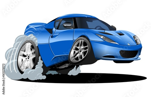 Staande foto Cartoon cars Cartoon sport car isolated on white background. Available EPS-10 vector format separated by groups and layers for easy edit