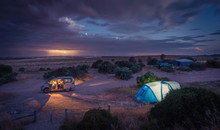 Balgowan, Australia - December 19, 2016: Night Thunder Storm With Lightning Strikes At The Gap Camping Ground In Yorke Peninsula, South Australia