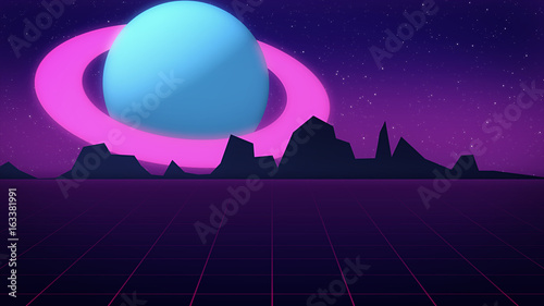 Retro futuristic background with planet Jupiter style of 1980s 3d illustration.