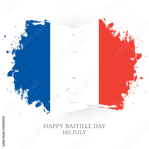 Happy bastille day 14th of july holiday greeting card with french 14th of july holiday greeting card with french national flag brush stroke m4hsunfo