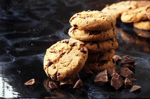 Fotobehang Koekjes Chocolate cookies on marble table. Chocolate chip cookies shot