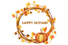 Happy Autumn, Vector Illustration Orange Wreath With Pumpkin