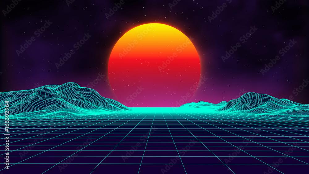 Fototapety, obrazy: Retro background futuristic landscape 1980s style. Digital retro landscape cyber surface. Retro music album cover template : sun, space, mountains . 80s Retro Sci-Fi Background Summer Landscape.