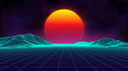 Retro background futuristic landscape 1980s style. Digital retro landscape cy...