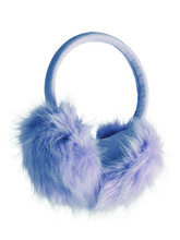 Blue Fluffy Furry Earmuffs Isolated On White