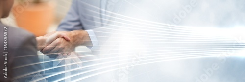 Fotografía Business handshake with white interface transition
