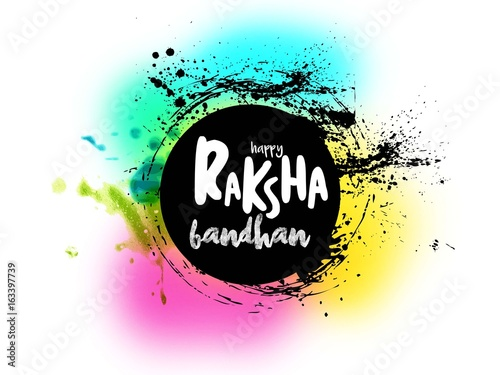 Photo  calligraphic greeting on auspicious occasion of raksha bandhan or rakhi with bri