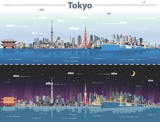 Fototapeta vector illustration of Tokyo at day and night
