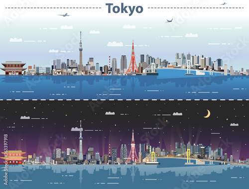 fototapeta na lodówkę vector illustration of Tokyo at day and night