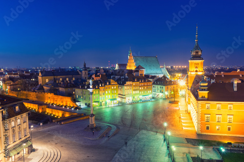 Fototapety, obrazy: view on Old Town in Warsaw at night, Poland