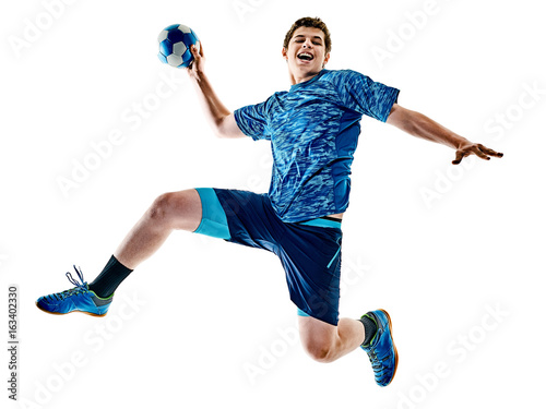 Fototapeta one caucasian handball player teenager boy in studio isolated on white backgroun