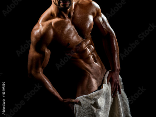 Naked Male Body With Towel Sexy Guy Covered Genitals With White Towel In Shower Athlete Ideal Body Lover Man Bodybuilder Torso