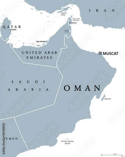 Oman Political Map With Capital Muscat. Sultanate And Arab Country In  Western Asia And Middle