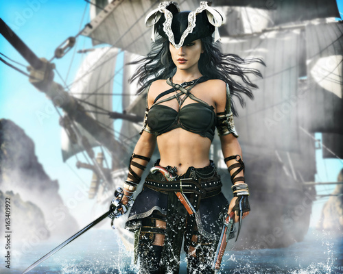 Valokuva  Portrait of a pirate female coming ashore . 3d rendering