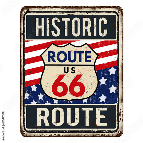 Photo  Route 66 vintage rusty metal sign