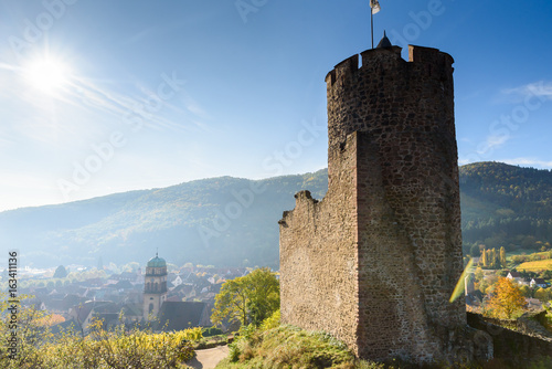 Fototapeta Ruin and Tower at Chateau de Kaysersberg -  Watchtower at village in alsace - Fr