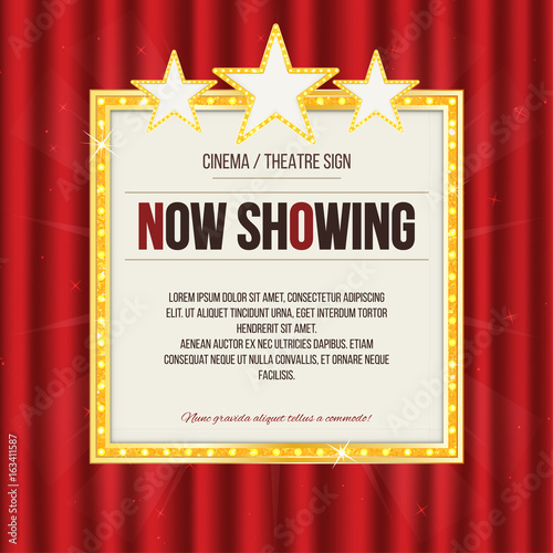 Photo  Theater sign or cinema sign with stars on red curtain