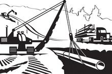 Construction Of Pipeline Through Mountain - Vector Illustration