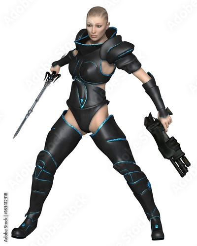 Future Warrior Priestess - science fiction illustration