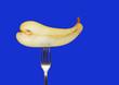 Leinwanddruck Bild - Pear fork healthy lifestyle organic food isolated on a blue background